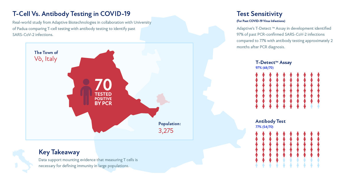 Infographic showing details of T-Cell Vs. Antibody testing in COVID-19 in Vo, Italy