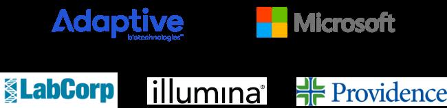 Image showing logos for Adaptive Biotechnologies, Microsoft, LabCorp, illumina, Providence