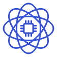 Icon of atom and computer chip